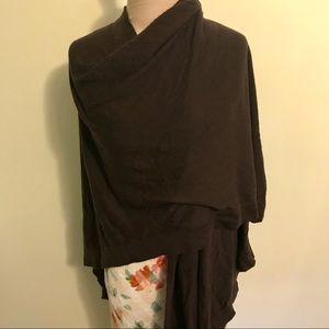 ANN TAYLOR Wrap Shawl Chocolate Brown Wool Viscose